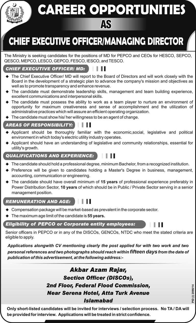 Managing Director Job In PEPCO U0026 Chief Executive Officer Jobs In DISCOu0027s  2014 November WAPDA Pakistan