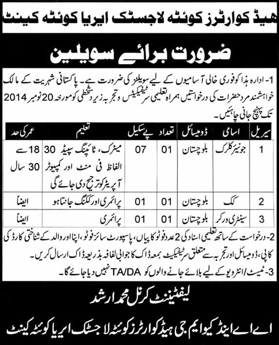 Junior Clerk, Cook & Sweeper Jobs in Quetta 2014 November at HQ Logistic Area