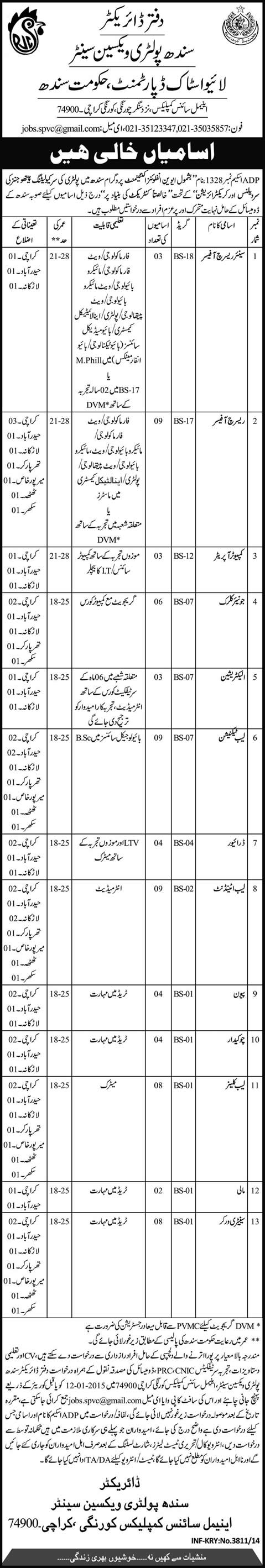 Sindh Poultry Vaccine Centre Jobs 2014 December Livestock Department Karachi & Other Cities