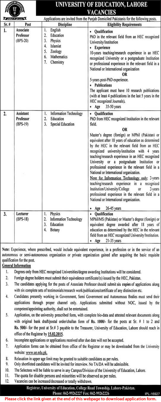 ... Education Lahore Jobs 2015 Teaching Faculty Application Form Download