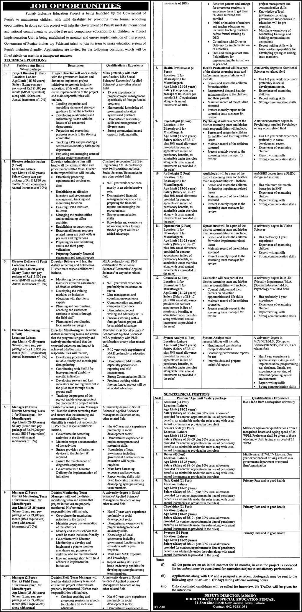 Directorate of Special Education Punjab Jobs 2015 Inclusive ...