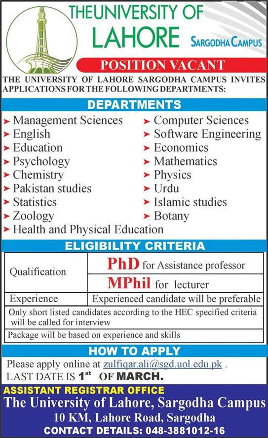 University Of Lahore Sargodha Campus Jobs 2015 February