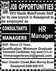 HR Managers & Consultant Jobs in EFU Life Insurance Rawalpindi 2015 March Latest