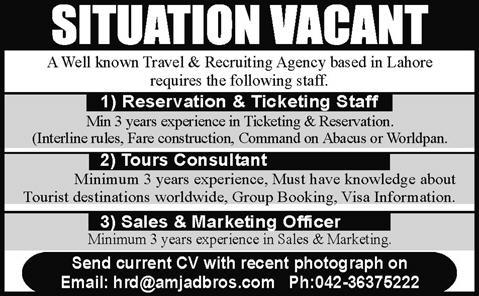 Sales & Marketing Officer, Tour Consultant and Ticketing Staff Jobs in Lahore 2015 March Latest