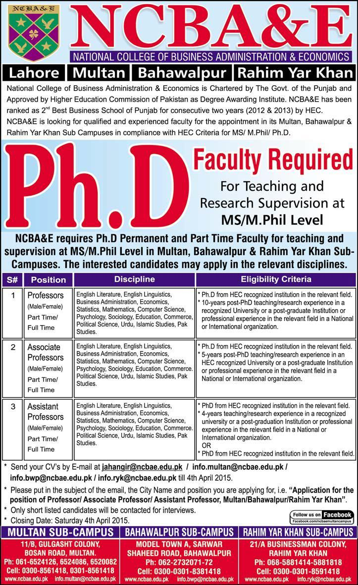 ncba e jobs ph d faculty national college of ncba e jobs 2015 ph d faculty national college of business administration