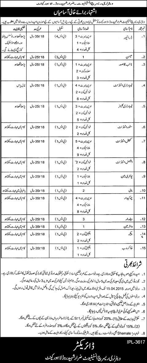 Veterinary Research Institute Lahore Jobs 2015 March / April Driver, Naib Qasid, Chowkidar, Attendant, Cleaner & Others