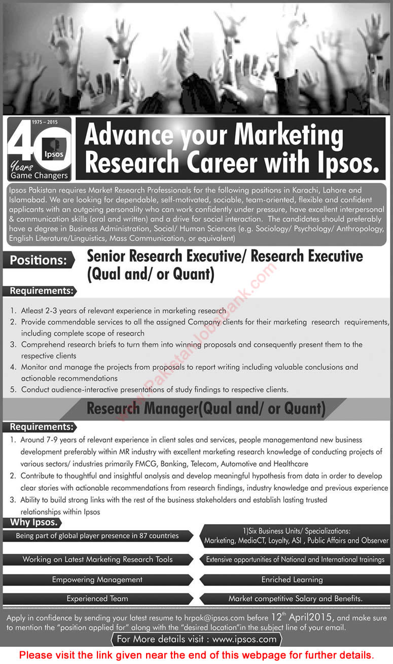 IPSOS Pakistan Jobs 2015 April Marketing Research ...