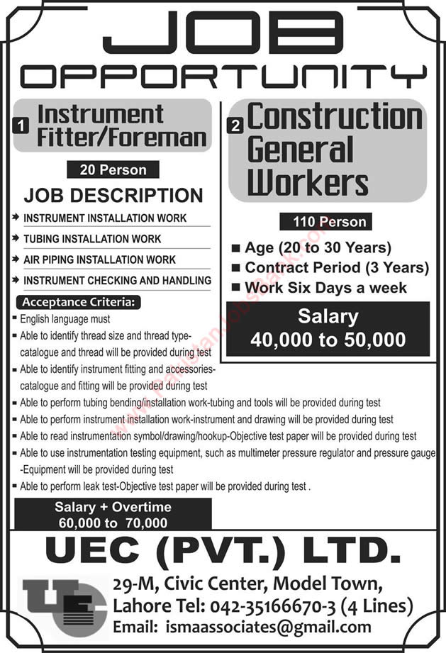 Uec Pvt Ltd Lahore Jobs  April Instrument Fitter  Foreman