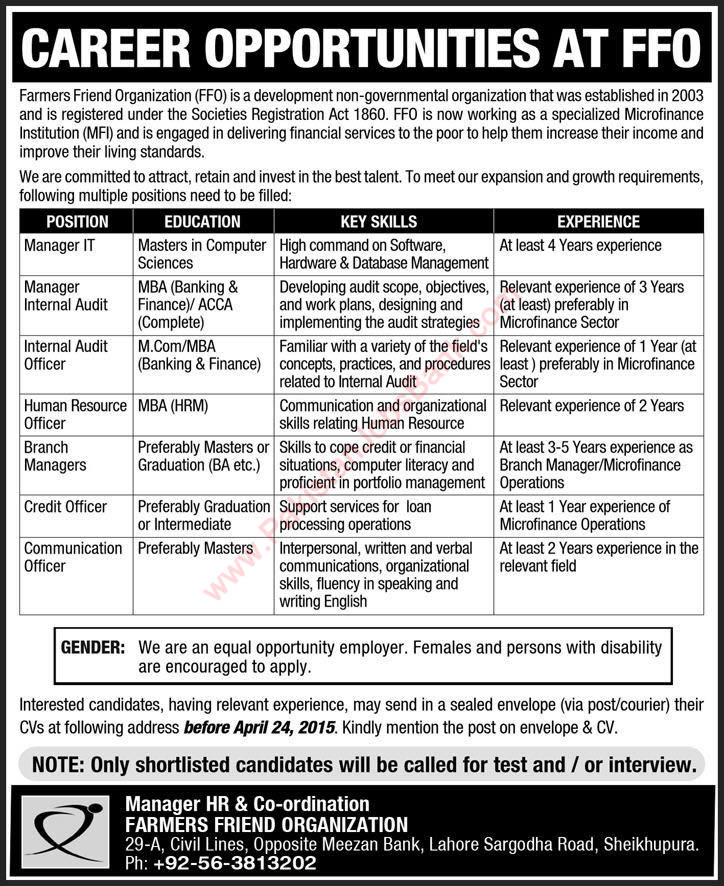 Farmers Friend Organization Sheikhupura Jobs 2015 April IT / Audit / Branch Managers & Others
