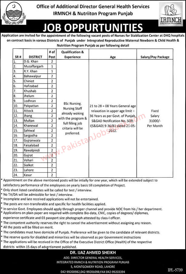 Nursing Jobs in IRMNCH Punjab 2015 May Nurses for DHQ Hospitals under Health Services