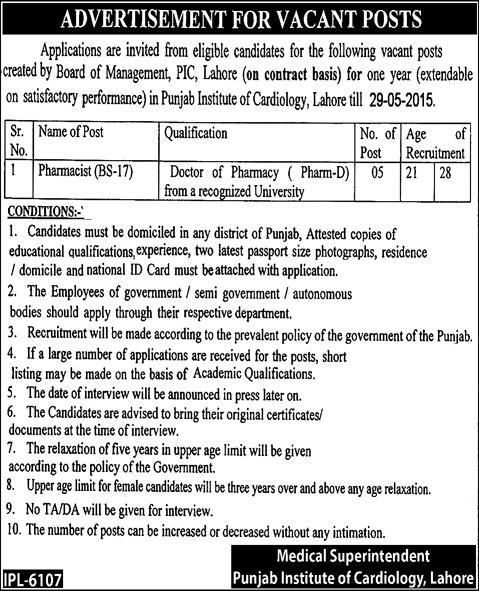 Pharmacist Jobs in Punjab Institute of Cardiology Lahore 2015 May Latest