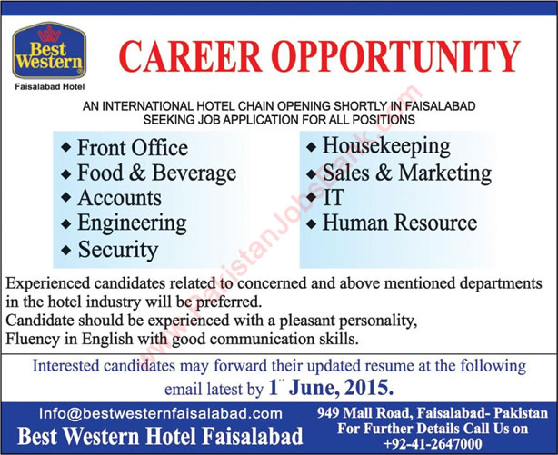 Latest Jobs In Best Western Hotel Faisalabad 2015 May Front Office,  Accounts, IT,