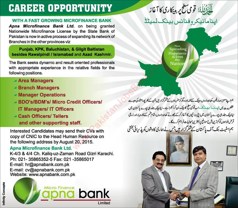 Apna Microfinance Bank Jobs 2015 August Officers & Managers Latest Advertisement