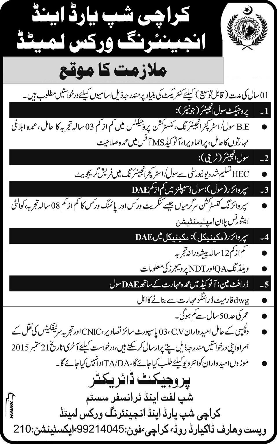 Karachi Shipyard Jobs 2015 September Civil Mechanical Engineers Draftsman Latest In Karachi