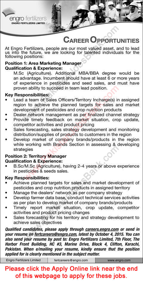 Engro Fertilizers Jobs 2015 September Apply Online Area Marketing / Territory Managers Latest