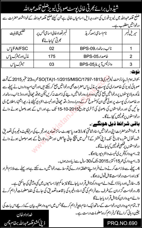 Balochistan Levies Force Killa Abdullah Jobs 2015 October Khasadar, Naib Risaldar & Wireless Operator