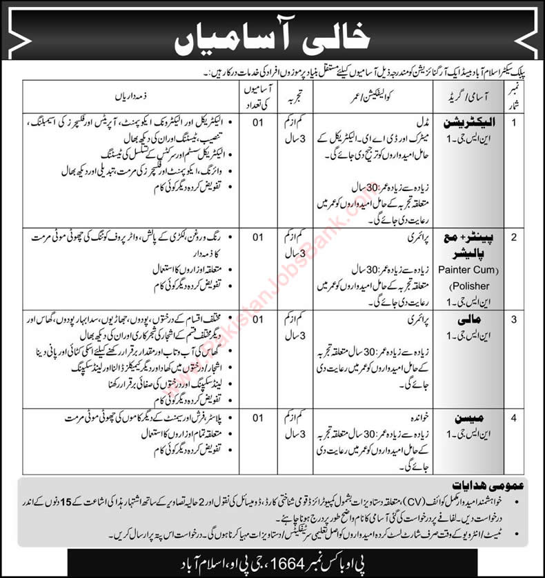 PO Box 1664 GPO Islamabad Jobs 2015 November NEPRA Pakistan Electrician, Painter, Mali & Mason
