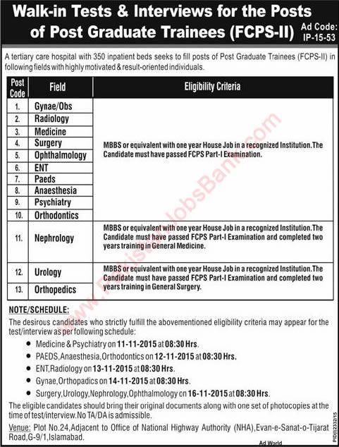 KRL Hospital Islamabad Jobs 2015 November Postgraduate Trainees FCPS-II Test / Interview Schedule