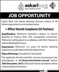 Askari bank jobs in islamabad rawalpindi december 2015 2016 shariah compliance officers - Role of compliance officer in bank ...