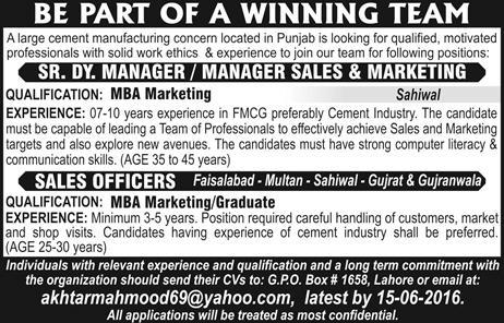 Sales Officer & Manager Jobs in Pakistan June 2016 at a Cement Industry PO Box 1658 Lahore Latest
