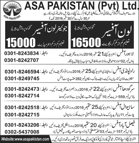 Loan Officer Jobs in ASA Pakistan 2016 September Walk in Interviews Microfinance Bank Latest