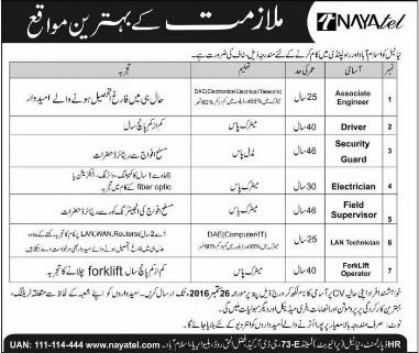 Nayatel Jobs in Islamabad / Rawalpindi September 2016 Electricians, Drivers, Security Guards & Others Latest