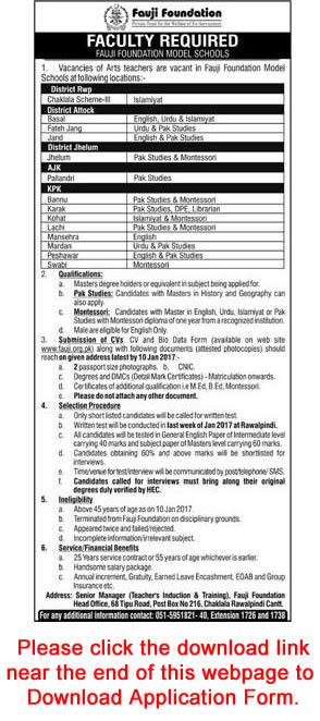 Fauji Foundation Model Schools Jobs 2017 Teachers & Librarian Application Form Download Latest