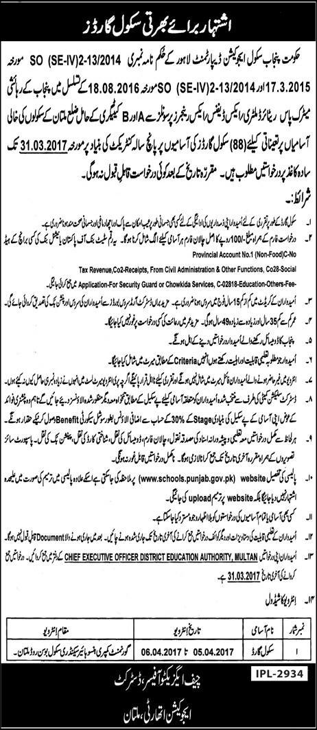School Security Guard Jobs in Education Department Multan 2017 March at Government Schools Latest