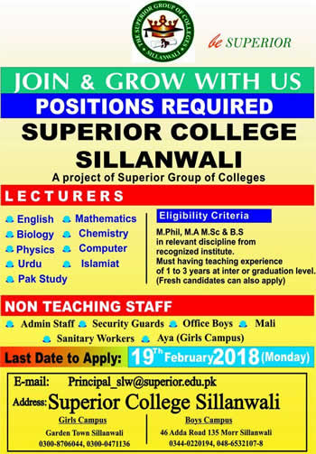 Superior College Sillanwali Jobs 2018 February Lecturers, Admin & Support Staff Latest