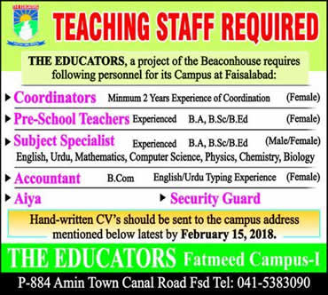 The Educators School Faisalabad Jobs 2018 February Teachers, Coordinators & Others Fatmeed Campus Latest