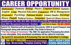 The City College of Commerce Faisalabad Jobs 2018 July for Teachers Latest