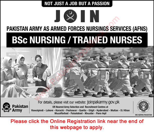 Join Pakistan Army as AFNS 2018 July Online Registration Armed Forces Nursing Service Admissions Latest