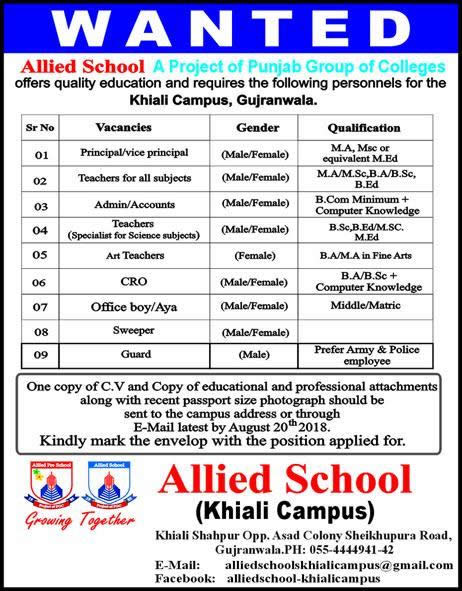Allied School Gujranwala Jobs August 2018 Khiali Campus Teachers & Others Latest