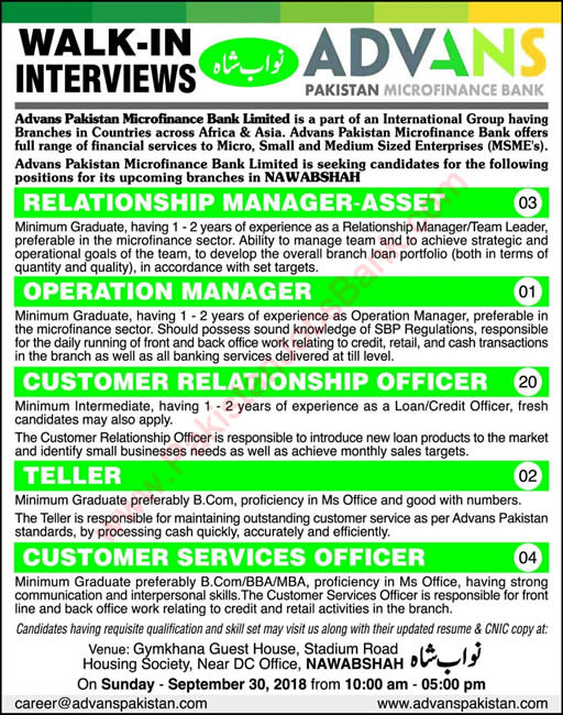 Advans Pakistan Microfinance Bank Jobs September 2018 Nawabshah Customer Relationship Officers & Others Latest