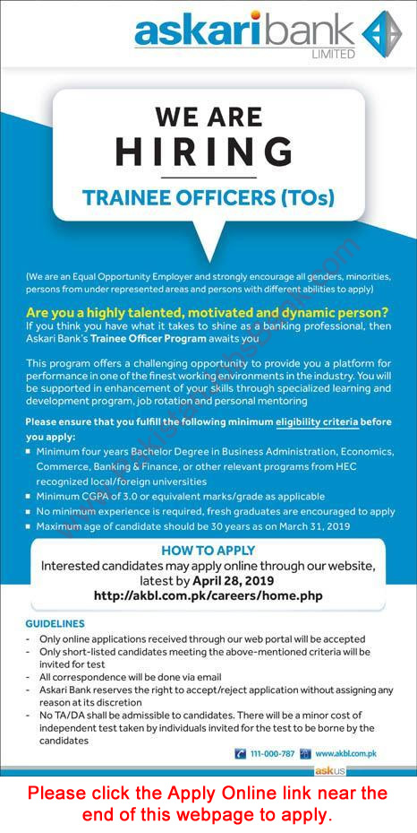 Askari Bank Jobs April 2019 Apply Online Trainee Officers Program AKBL Latest