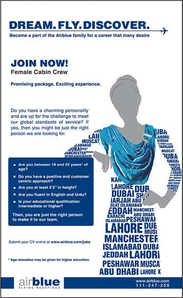 Air Blue Jobs 2013 Female Cabin Crew in Karachi, Lahore, Islamabad Latest Ad