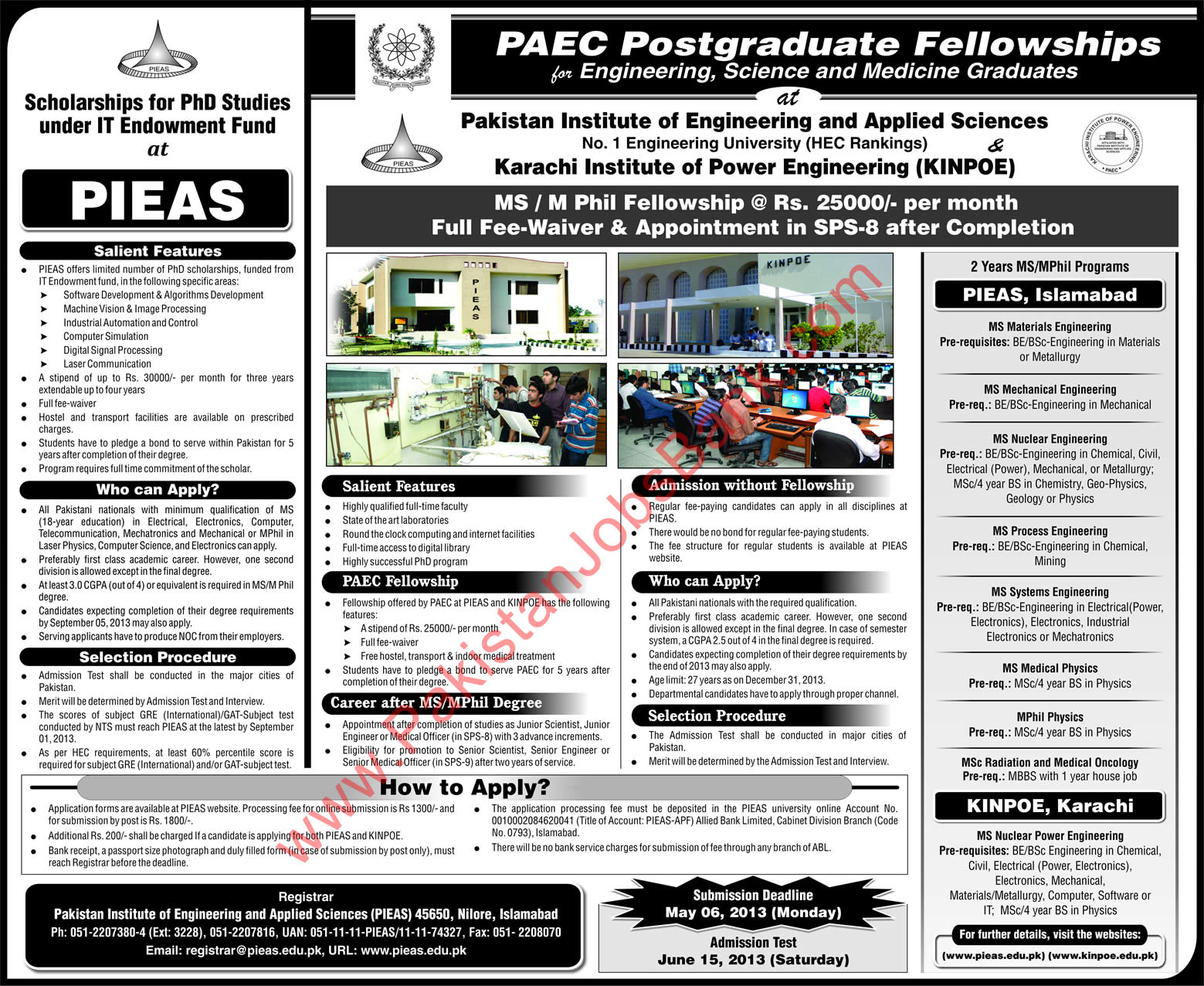 Pakistan Atomic Energy Commission Postgraduate Fellowships 2013 at PIEAS / KINPOE Advertisement
