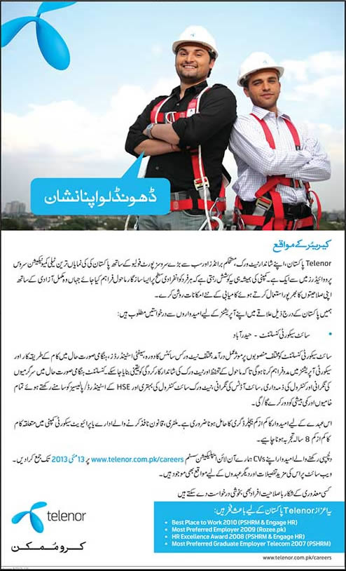 Telenor Pakistan Job 2013 May 08 In Hyderabad For Site