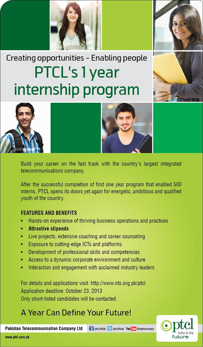 PTCL One Year Paid Internship Program 2013 - 2014