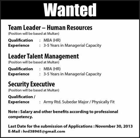 Security Executive & HR Jobs in Pakistan Multan 2013 November
