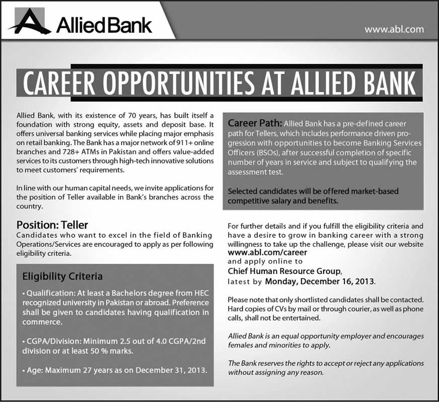 Allied Bank Jobs December 2013 for Teller Latest Advertisement