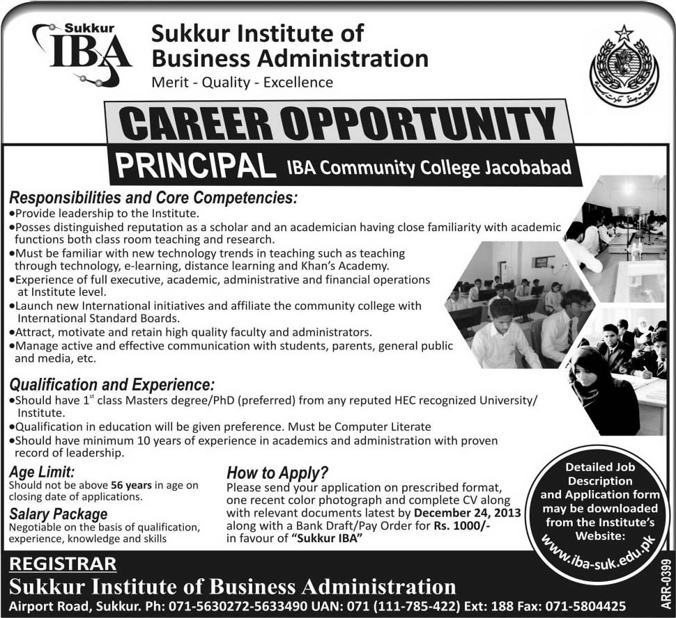 Principal Jobs in Jacobabad Sindh 2013 December at IBA Community College