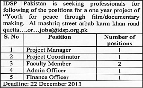 IDSP Pakistan Quetta Jobs 2013 December for Project Manager / Coordinator, Faculty Member, Admin & Finance Officer