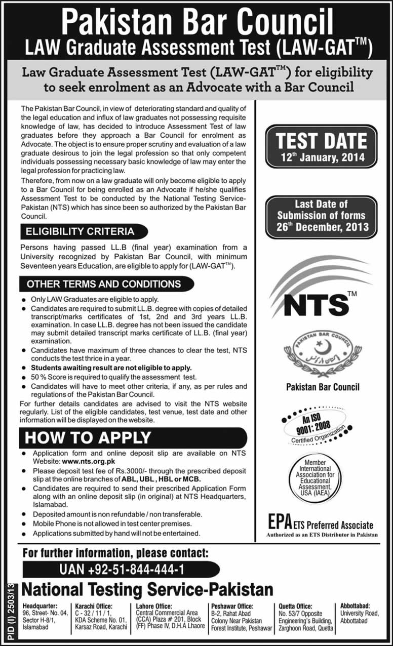 NTS Law Graduate Assessment Test (LAW-GAT) 2013 - 2014 for Pakistan Bar Council