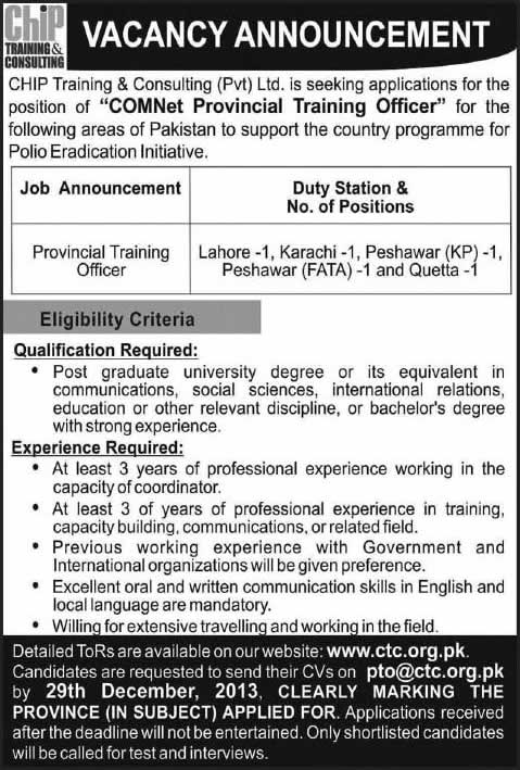 Polio Eradication Initiative Jobs 2013 December for Provincial Training Officer at Chip Consulting & Training (Pvt.) Ltd