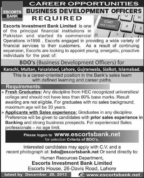 escort investment bank careers
