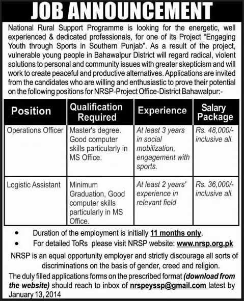 National Rural Support Programme Jobs  In Bahawalpur For
