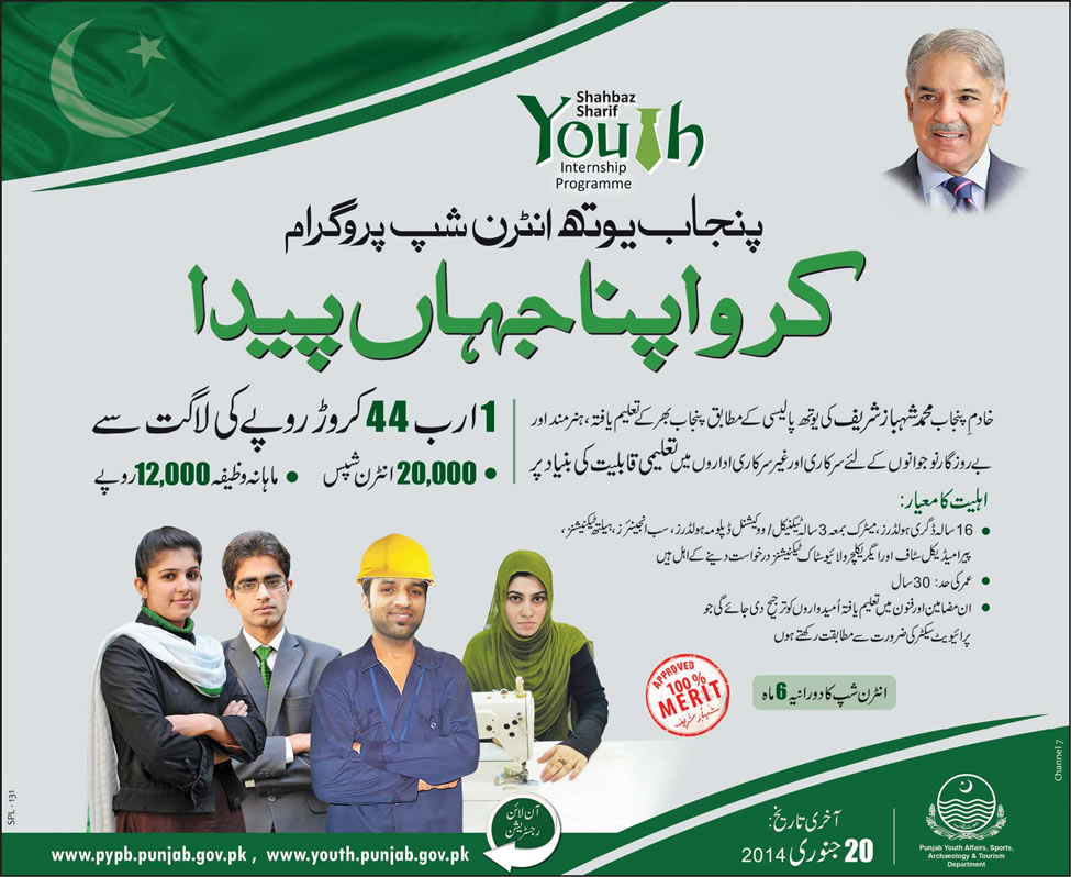 Punjab Youth Internship Programme 2014 Apply Online Registration