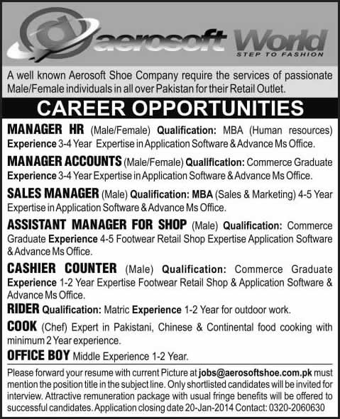 Aerosoft Shoe Company Jobs 2014 for HR / Accounts / Sales Manager ...