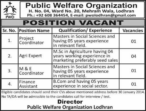 Public Welfare Organization Lodhran Jobs 2014 for Project Coordinator, Agri Expert, M&E Coordinator & Finance Assistant